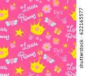 pink little princess pattern...   Shutterstock .eps vector #622165577