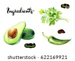 ingredients kitchen watercolor... | Shutterstock . vector #622169921
