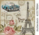 paris vintage postcard. | Shutterstock . vector #622178864