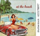 vintage vacation background... | Shutterstock . vector #622178897