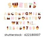 sweets bakery font design.... | Shutterstock .eps vector #622180007