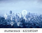 city with abstract connected... | Shutterstock . vector #622185269