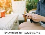 closeup of woman hands using...   Shutterstock . vector #622196741