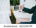 closeup of woman hands using... | Shutterstock . vector #622196759