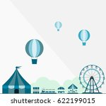 circus show and ferry wheel in... | Shutterstock .eps vector #622199015