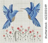 embroidery blue bird and pink... | Shutterstock .eps vector #622203149
