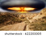 nuclear explosion in the desert | Shutterstock . vector #622203305