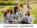 merry wedding in nature. guests ... | Shutterstock . vector #622206149