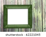 Old Green Frame On Old Wooden...