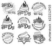 hot dog labels. handwritten...   Shutterstock .eps vector #622212935