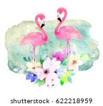 Pink Flamingo And Flowers On...