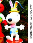 Small photo of OSAKA, JAPAN - Apr 14, 2017 : Photo of the Easter Version Snoopy's statue is welcoming visitors at Universal Studios JAPAN, Osaka, Japan.