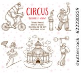 sketch set of circus artists... | Shutterstock .eps vector #622230329