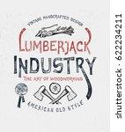 lumberjack industry. hand drawn ... | Shutterstock .eps vector #622234211