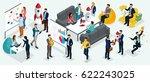 isometric people  entrepreneurs ... | Shutterstock .eps vector #622243025