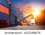 forklift handling container box ... | Shutterstock . vector #622248674
