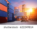 forklift handling container box ...   Shutterstock . vector #622249814