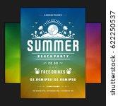 retro summer party design... | Shutterstock .eps vector #622250537