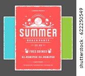 retro summer party design... | Shutterstock .eps vector #622250549