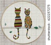 embroidery cats.  zentangle... | Shutterstock .eps vector #622257275