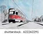 vintage tram  hand drawn...   Shutterstock . vector #622262291