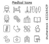 medical icon set in thin line... | Shutterstock .eps vector #622265429