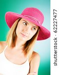 young girl with beach hat... | Shutterstock . vector #62227477