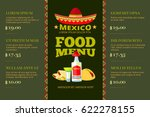 mexican cuisine food restaurant ... | Shutterstock .eps vector #622278155