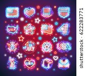 set of fourth of july signs...   Shutterstock .eps vector #622283771