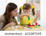 mother and kid daughter playing ... | Shutterstock . vector #622287245