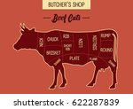 butcher shop's beef cut...   Shutterstock .eps vector #622287839