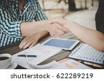 close up of two business people ... | Shutterstock . vector #622289219