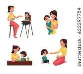 set of mother feeding her baby  ... | Shutterstock .eps vector #622297754