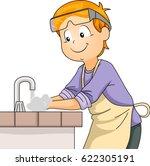 illustration of a little boy in ... | Shutterstock .eps vector #622305191