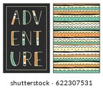 adventure. hand drawn lettering ... | Shutterstock .eps vector #622307531