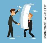 businessman measures the amount ... | Shutterstock .eps vector #622311149