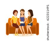 girlfriends are sitting at home ... | Shutterstock .eps vector #622311491