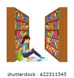 library and bookstore with... | Shutterstock .eps vector #622311545