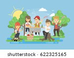 picnic with bbq. people having... | Shutterstock .eps vector #622325165