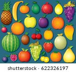 Fresh Fruit Icon Set. Vector...