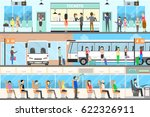 bus interior set. seat in the... | Shutterstock .eps vector #622326911
