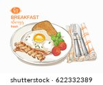 fried eggs with bacon  salad on ... | Shutterstock .eps vector #622332389