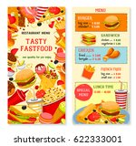 fast food vector menu with... | Shutterstock .eps vector #622333001