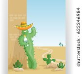 funny smiling cactus with... | Shutterstock .eps vector #622346984