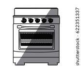 monochrome silhouette of stove... | Shutterstock .eps vector #622351337