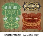 vector vintage items  label art ... | Shutterstock .eps vector #622351409