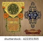 vector vintage items  label art ... | Shutterstock .eps vector #622351505