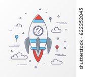 rocket flat line design. thin... | Shutterstock .eps vector #622352045