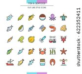 fish and seafood flat line... | Shutterstock .eps vector #622352411