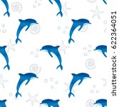 seamless watercolor dolphins... | Shutterstock .eps vector #622364051